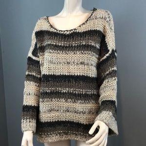 Free People Multi Color Striped Oversized Sweater